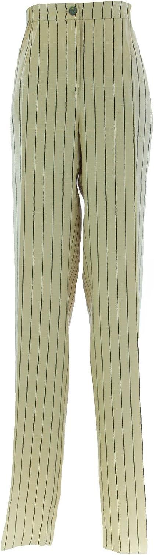 Marina Rinaldi by MaxMara Cream Pinstriped Unhemmed Dress Pants