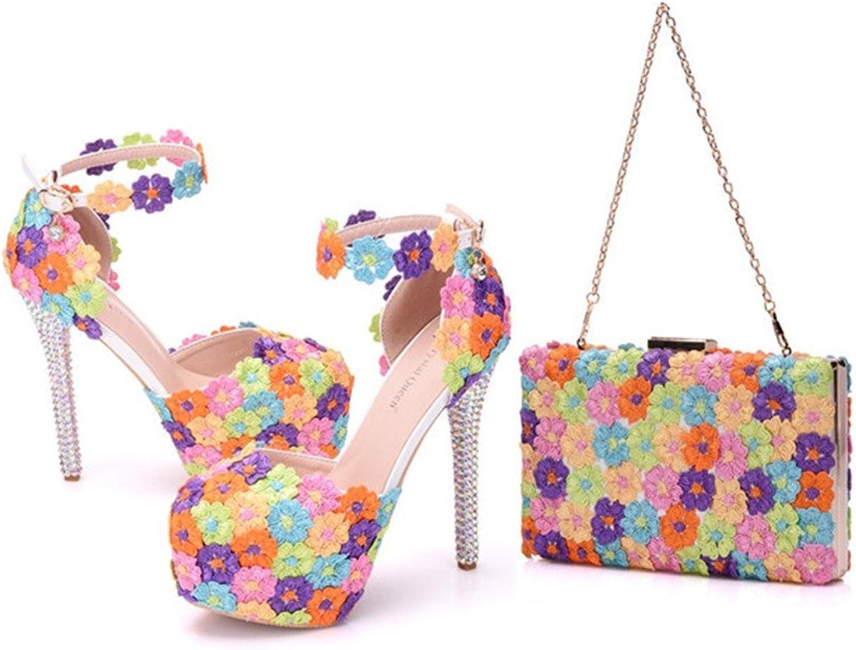 Women Party Flower High Heels Sandals Match The Same Style Handbag