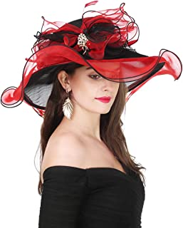 black and red derby hat