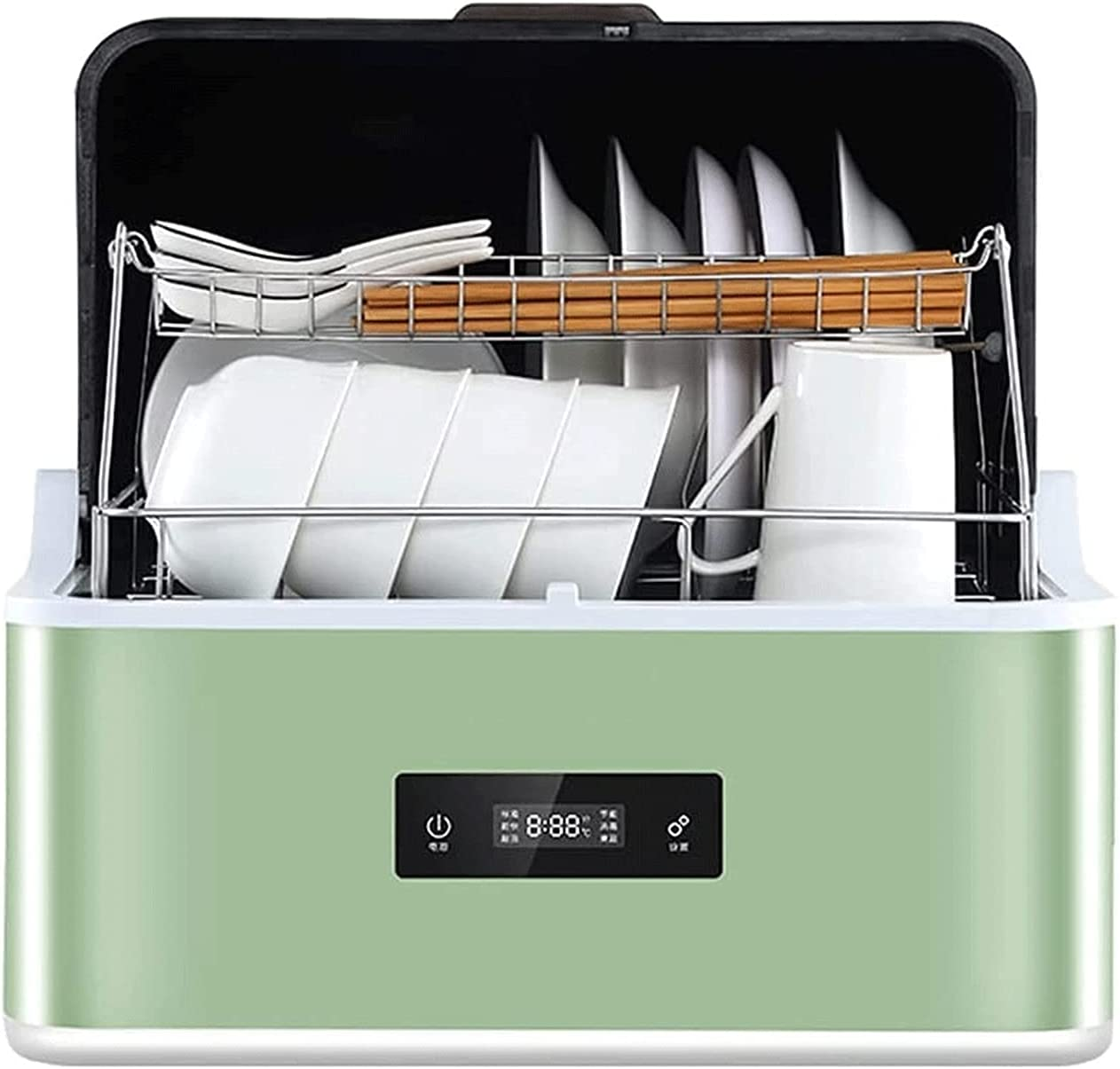 MOSHUO Lavavajillas de encimera, lavavajillas portátil con Manguera de Entrada y Salida, 6 programas de Lavado, Limpieza de Platos de Frutas y Verduras, función de Secado al Aire