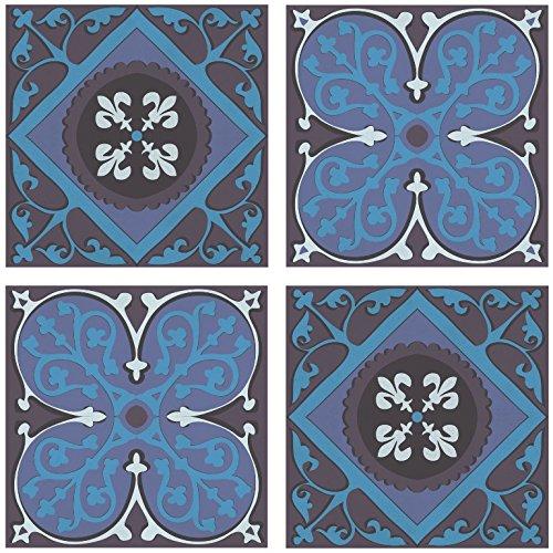 PLAGE 260523 Adesivi per Ceramica e Piastrelle Smooth, Azulejos, 4 Fogli, 14,5 x 14,5 cm