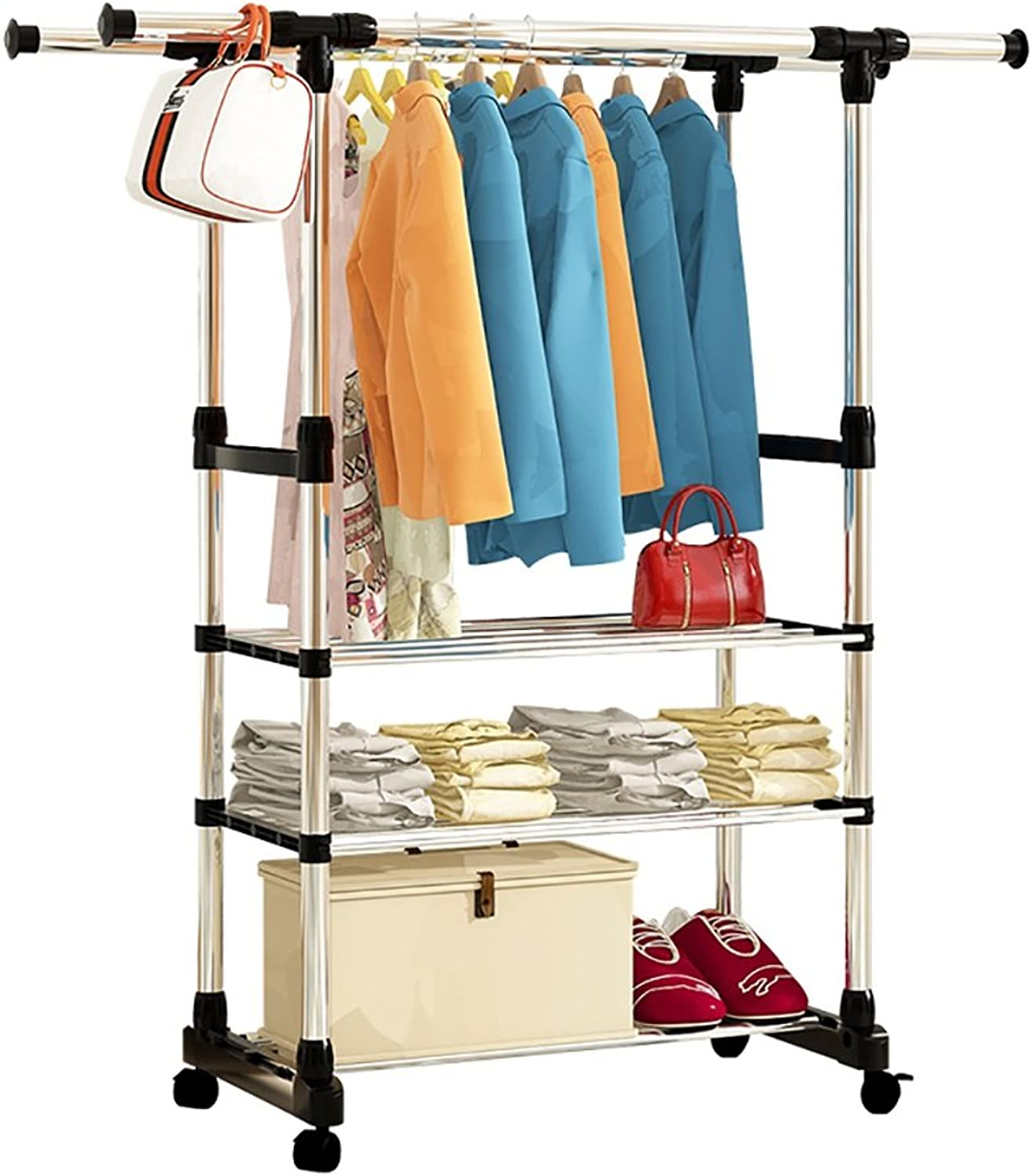 ZZHF yimaojia Stainless Steel Floorstanding  Scalable Coat Rack Thickening   Bedroom Moveable Clothes Rack Clothes Storage Rack (Size   B)