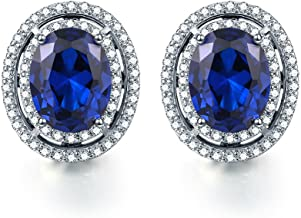 Pegaffi 925 Sterling Silver Created Gemstone Women's Halo Stud Earrings (1.89Ct, Oval 8x6mm)