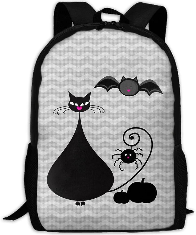 Backpack Laptop Travel Hiking School Bags Fat Cat Bat Daypack Shoulder Bag