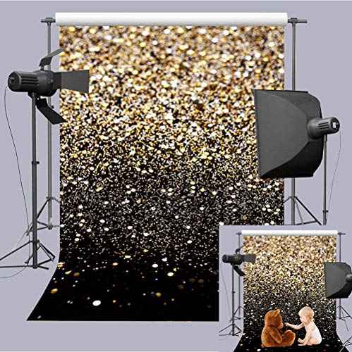 Art Studio 5x7ft Fashion Wedding Photography Backdrops Gold Glitter Sequin Black Photo Background Starry Sky Shining Newborn Photo Children Birthday Party Decor Studio Props Vinyl
