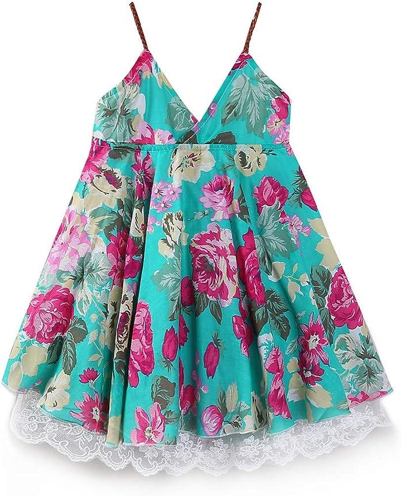 LittleSpring Summer Girls Spaghetti Strap Dress Floral Holiday Beach Dress