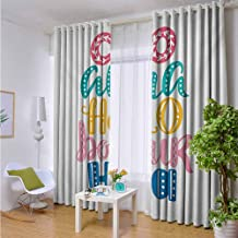 Andrea Sam Grommet Curtains Quote,Hello in Different Languages with Floral and Abstract Details Fun Greeting Words Art,Multicolor,W42 by L84 Inch Room Darkening Thermal Insulated