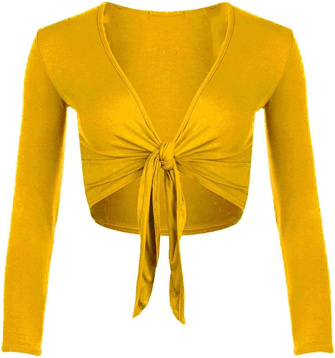 Style wise Fashion Womens Long Sleeves Tie Up Front Bolero Shrug Ladies Wrap Open Crop Cardigan Top