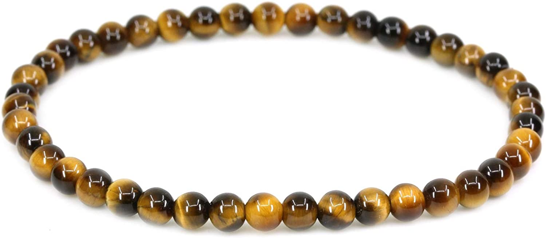 Gem Semi Precious Gemstone 4mm Round Beads Crystal Stretch Bracelet 7