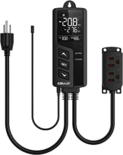 Elitech STC-1000 Pro Digital Temperature Controller Thermostat US Socket, Two Pre-Wired Heating and Cooling Outlets, Centigrade/Fahrenheit LCD Display, Plug Sensor, 49°F-239°F 110V 100-250V 10A 1200W