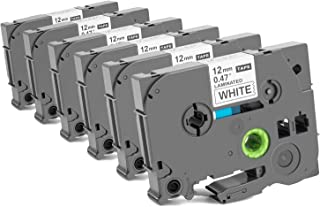 Replace Ptouch Tape 12mm 0.47 White Brother P Touch Label Tape Compatible with Label Maker Machine, PTD600, PT-P710BT, PT-1890C, PTP750W, PT-H100, 6-Pack