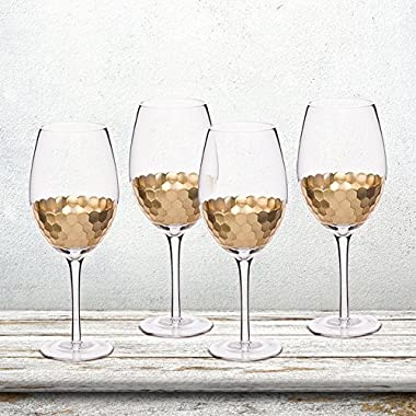 Wine Glasses 4 Pack Glassware Set, Gold Plated Premium Drinkware Toasting Glasses, Holiday Party Gifts for Mothers Day Gift