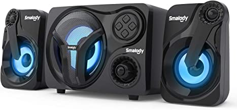 Smalody Computer Speakers with Subwoofer, 2.1 Powered Sound System, Cool Blue LED, Multimedia Speaker with Bluetooth/Line-...
