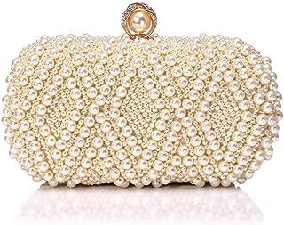 Pearl Ladies Dinner Bag, Fashion Beaded Ladies Clutch Bag, European and American Ladies Banquet Bag, Ladies Dress Evening Bag (20 * 6.5 * 10Cm),Beige