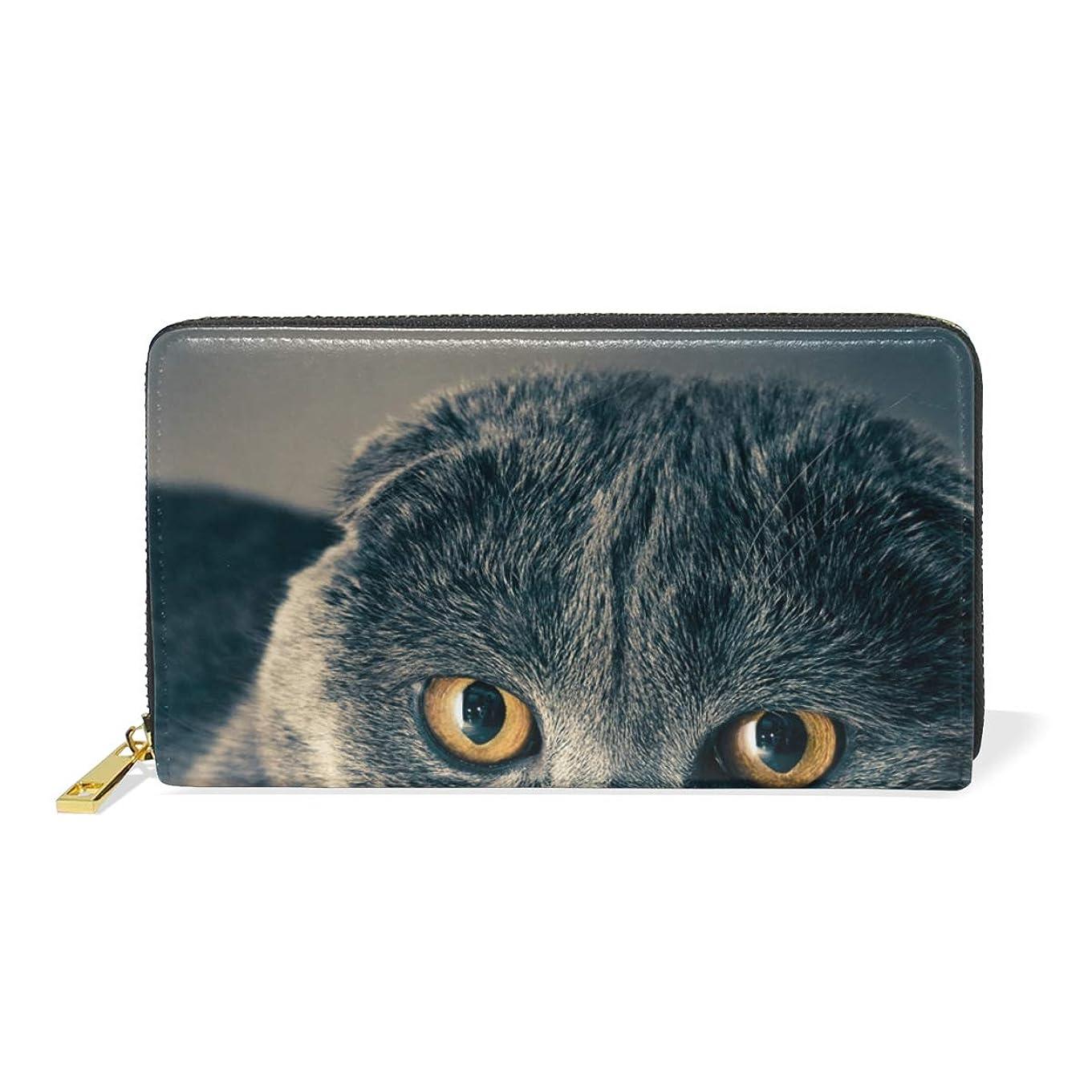 反対した服追放するAyuStyle 財布 長財布 レディース メンズ PU レザー ファスナー 小銭入れあり お札入れ カード入れ 二つ折り 大容量 可愛い 個性的 猫柄 ネコ 写真