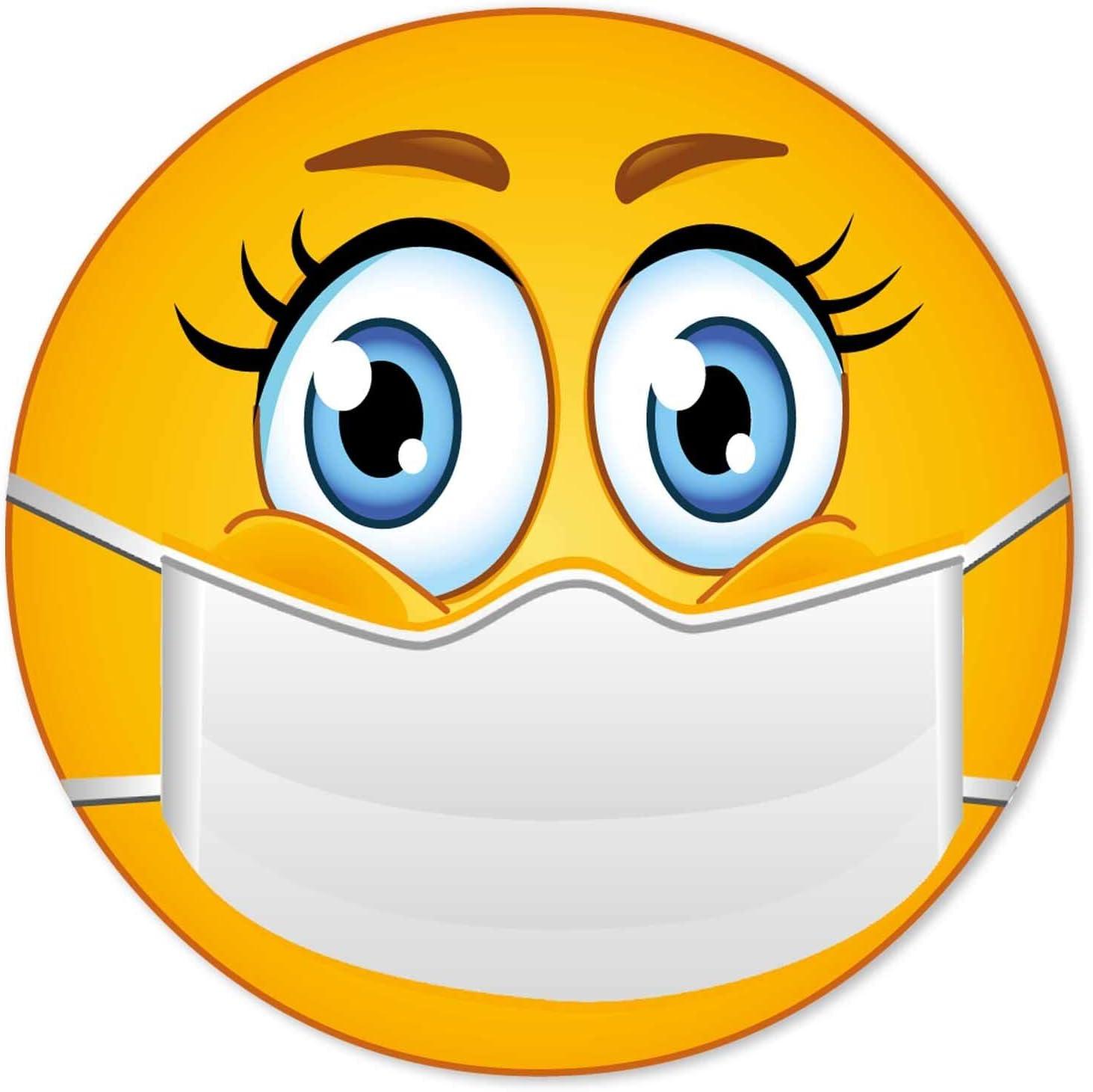 6er Aufkleber Set I Bitte Tragen Sie Einen Mundschutz I Ø 5 Cm Rund I Hinweis Klebeschildchen Nasen Mund Schutz Benutzen Mit Smiley I Für Firmen Geschäfte Praxis I Dv 831 Bürobedarf Schreibwaren