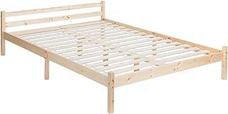 Cadre de lit double 140 cm en bois massif durable à lattes robustes design moderne meubles de chambre en bois