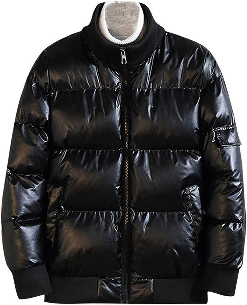 Men's Zipper Parka Winter Warm Coat with Hood Outdoor Windproof Outwear Jacket