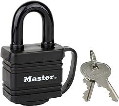 Master Lock 7804EURD hangslot van gecoat staal met pensluiting en afdekking, zwart, 7,8 x 4 x 2,9 cm
