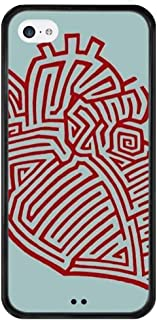 Case for iPhone 5C, Protective Cover with Tire Pattern Soft Edges Slim Thin Design Maze Painting Pattern Maze red Maze Stripe Maze Picture Maze Heart