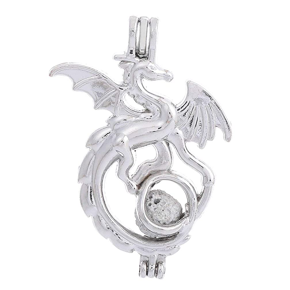 10pcs Silver Plating Bead Cage Locket Pendant - Add Your Own Pearls, Stones, Rock to Cage,Add Perfume and Essential Oils to Create a Scent Fragrance Oil Diffusing Pendant Charm. (Dragon)