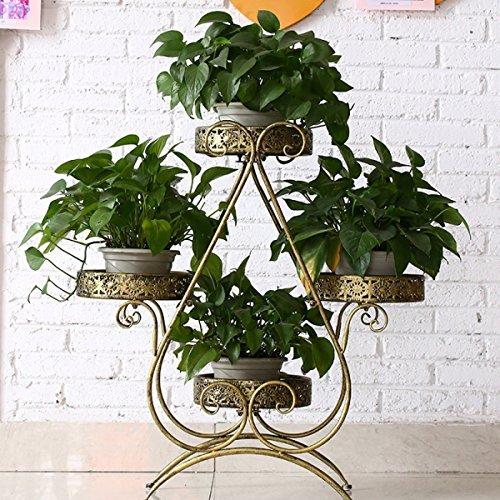 Fleur pot rack européenne fer fleur étagère creative pratique balcon décorations pour la maison ornements (Couleur : Or)