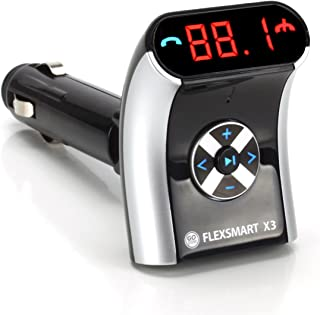 GOgroove FlexSMART X3 Mini Bluetooth FM Transmitter with Hands-free Calling , Audio Playback and USB Charging - Works with Apple iPhone , Android , Tablets , MP3 Players and more Bluetooth Devices