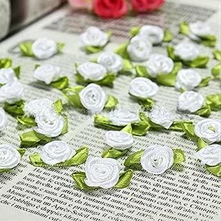 100 PCS Mini Ribbon Bows Roses Flowers Craft Artificial Ornament Applique Sewing DIY (White)