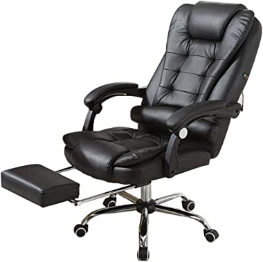 US Fast Shipment Quaanti High Back Leather Office Chair,Height Adjustable Executive Recliner Computer Desk Chair Gaming Racing Chair with Footrest Lumbar Support and Headrest,Ergonomic (Black)