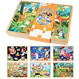 6 Pack Wooden Puzzles for Kids Ages 4-8 Jigsaw Puzzles Preschool Learning Educational Toys for Toddlers Boys Girls