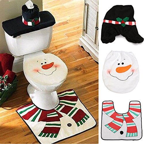 Miniko Christmas Snowman Toilet Seat Cover + Rug Bathroom Mat Set Christmas Decorations, (TM) Christmas Decoration for Home Santa Toilet 3pcs/lot Seat Cover & Rug Bathroom Se Santa Claus Ornament
