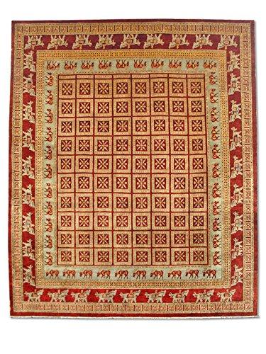 Pak Persian Rugs Handgeknüpfter Pazyryk Teppich, Burgunderrot/Rot, Wolle, Medium, 248 X 298 cm