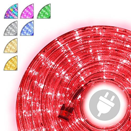 Nipach GmbH 20m 480 LED Lichterschlauch Lichtschlauch rot – Innen- und Außenbereich – energiesparende Leucht-Dekoration für Garten Fest Weihnachten Hochzeit Gesamtlänge ca. 21,50 m
