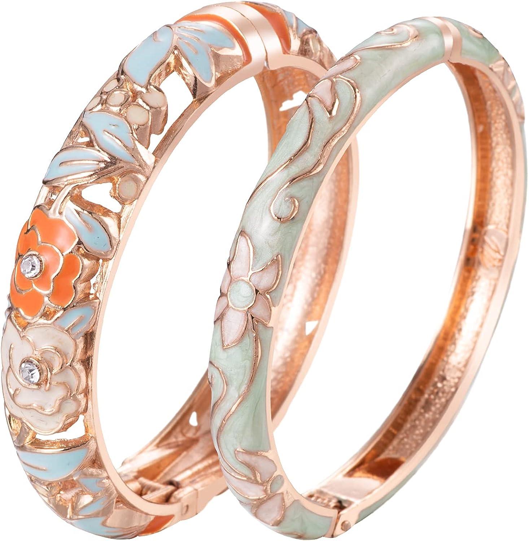 UJOY Cloisonne Bangle Colorful Enamel Golden Filigree Rose Flower Hollowed Crystal Bracelet for Women Gifts 88A09