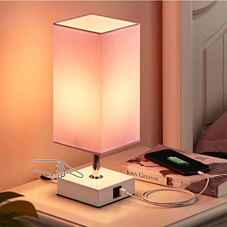 Touch Beside Table Lamp with 2 USB Charging Ports, Seealle 3 way dimmable pink usb table lamp, Nightstand Lamp Touch Lamps for Bedrooms Living Room, Pink Shade with White Base, LED Bulb Included(Pink)