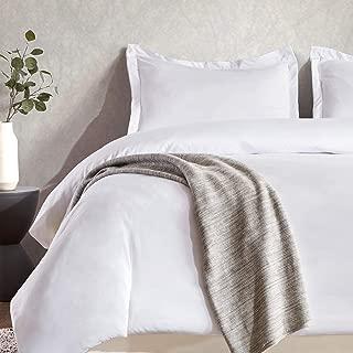 SLEEP ZONE Bedding Duvet Cover Sets Temperature Management 120gsm Ultra Soft Zipper Closure Corner Ties 3 PC, White,King