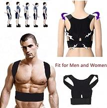Basic Deal Real Doctor Posture Corrector, Shoulder Back Support Belt for Men and Women (Black) (XL)