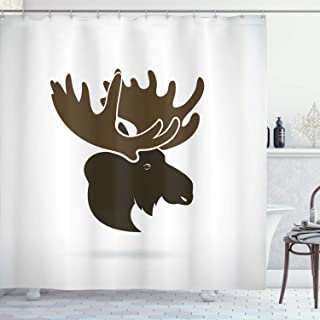 Ambesonne Moose Shower Curtain, Deer Head Canadian Northern Wilderness Mammals Hunting Graphic, Cloth Fabric Bathroom Decor Set with Hooks, 75