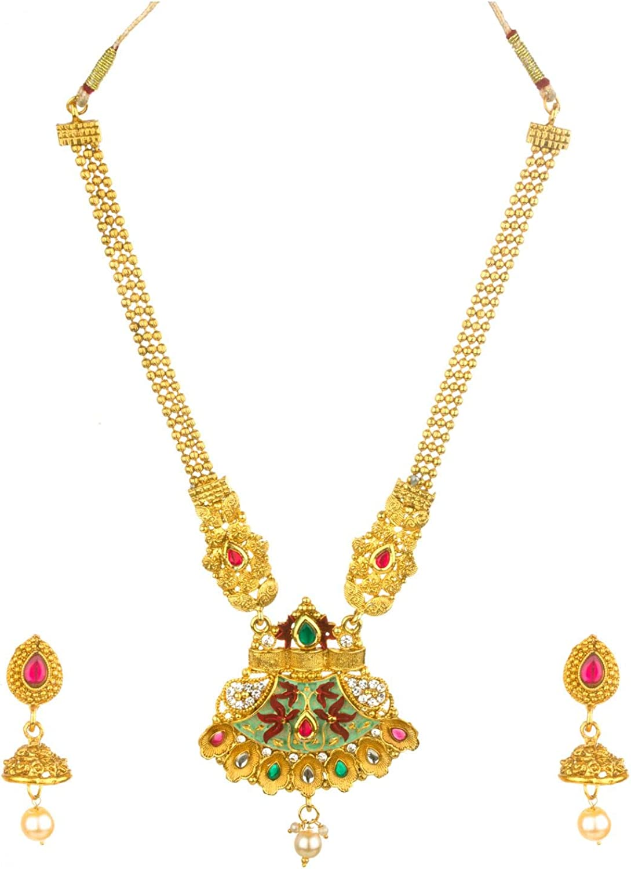 Efulgenz Indian Bollywood Traditional 14 K Gold Plated Crystal Kundan Pearl Beaded Wedding Bridal Necklace Earrings Jewelry Set