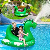 Inflatable Pool Float for Kids Adults - Kids Sprinklers Pool Toys Ride-on Dinosaur Splash Pool Raft with 2 Handles, Summer Swimming Pool Party Toys, Spray Water Toys for Outdoor Lawn Backyard