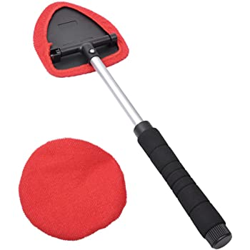 AutoEC Window Windshield Cleaning Tool, Car Windshield Cleaner Wand with Extendable Handle, Auto Interior Exterior Glass Cleaner for Car Home Office Use, Washable Reusable Microfiber Bonnets(2 Pack)