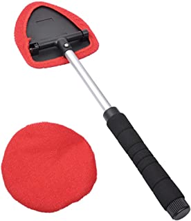 AutoEC Windshield Cleaner, Extendable Handle Window Cleaner Brush Kit,Car Window Windshield Wonder Cleaning Wash Tool Fluid Inside Interior Auto Glass Wiper Includes 2 Washable and Reusable Pads
