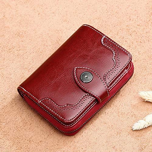 Guiping Cartera de cuero para mujer, pequeño bolso de monedero corto para niñas y mujeres, titular de tarjetas (color: rojo vino)