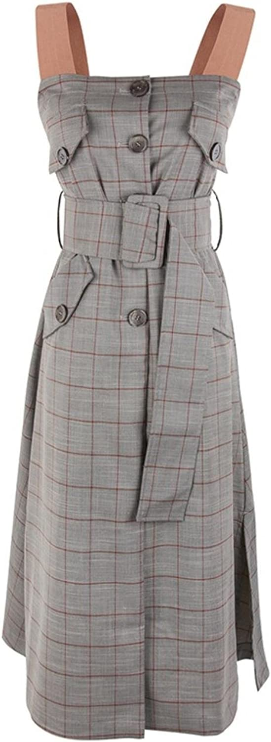 Women Summer Designer Casual Vintage Plaid Split Elegant Sleeveless Tank Strap Midi Dress