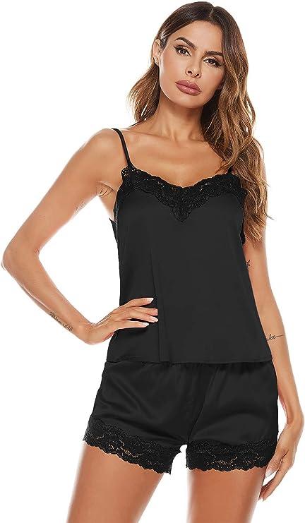 PTSPDP Women's Lace Plain Spaghetti Strap Pajama Set Satin Cami and Shorts Pajama Set