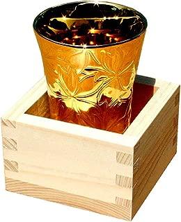 Yamakiikai Made in Japan Cherry Blossom(Sakura) Sake Cup(Gold Color) and Masu with Paulownia Wood Box