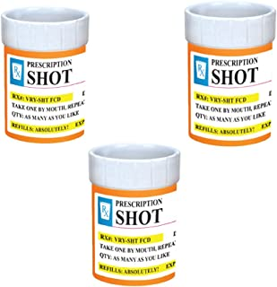 Shot Glasses Set of 3 - Prescription Shot Glass - 2 oz. RX Prescription Bottle Unique Funny Novelty Shot Glass Set