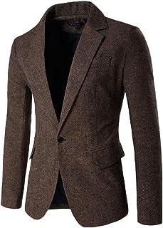KJHSDNN Men Suit Blazer Jacket Casual Slim Fit One Button Prom Tuxedo Coat Outwear Coffee