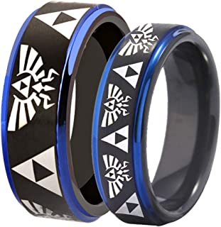 Free Custom Engraving The Legend of Zelda Ring- Crest and Triforce Ring Black and Blue Step Tungsten Carbide Wedding Bands Ring