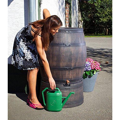 Roto Regenfass, Holz-Optik, Wasserfass 50l, Regentonne, Kunststoff mit Deckel